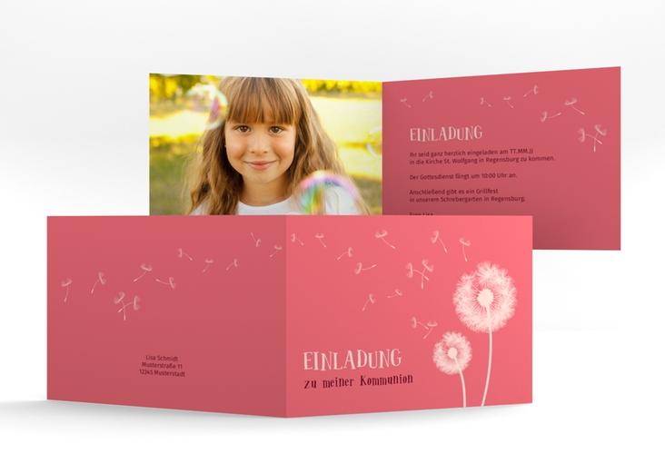 """Einladungskarte Kommunion """"Dandelion"""" A6 Klappkarte Quer"""