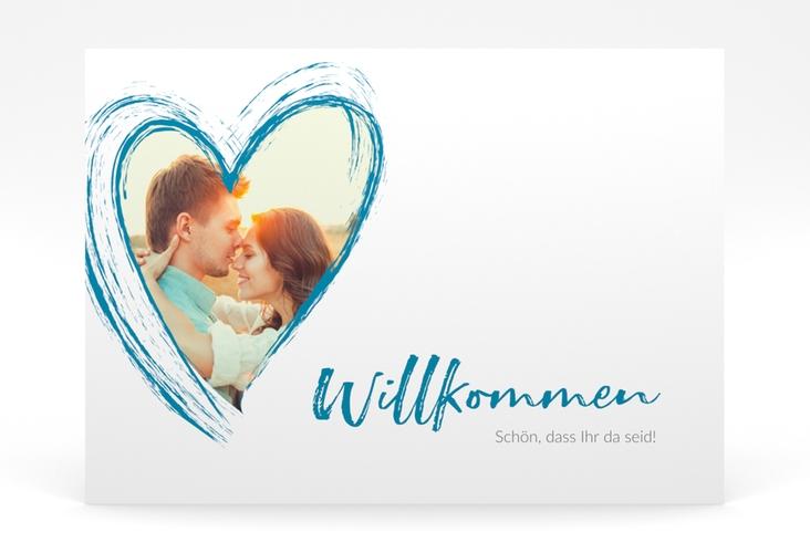"""Willkommensschild Poster """"Liebe"""" 70 x 50 cm Poster tuerkis"""