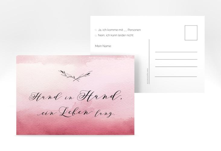 """Antwortkarte Hochzeit """"Divine"""" A6 Postkarte rot"""