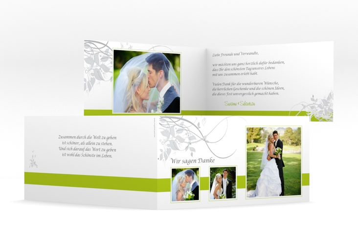 "Dankeskarte Hochzeit ""Florenz"" DIN lang Klappkarte gruen"