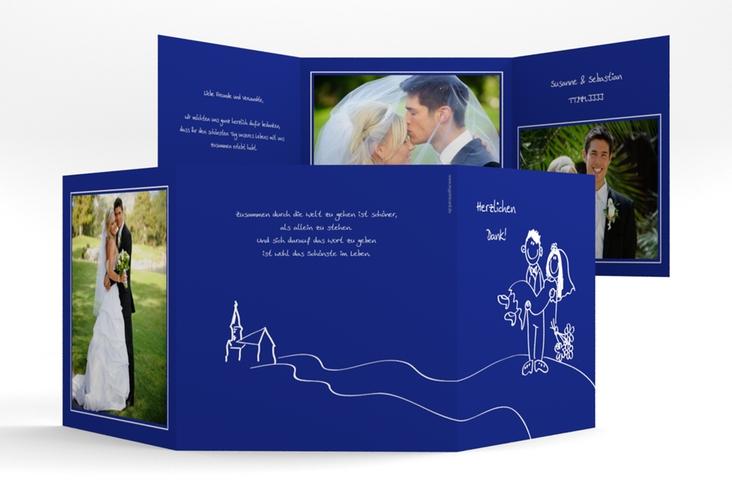 "Danksagungskarte Hochzeit ""Pisa"" Quadr. Karte doppelt blau"