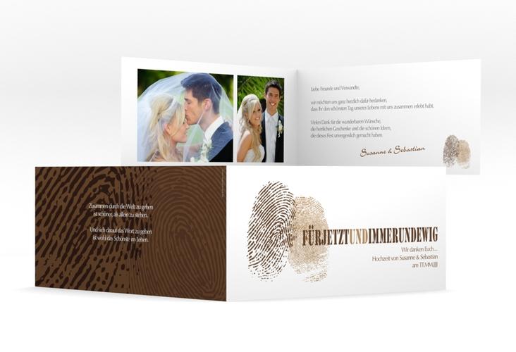 """Dankeskarte Hochzeit """"Messina"""" DIN lang Klappkarte braun"""