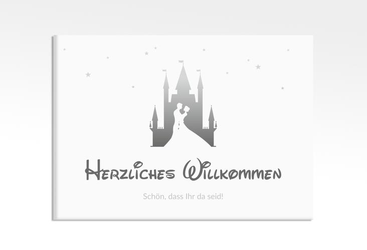 "Willkommensschild Leinwand  ""Castle"" 70 x 50 cm Leinwand grau"