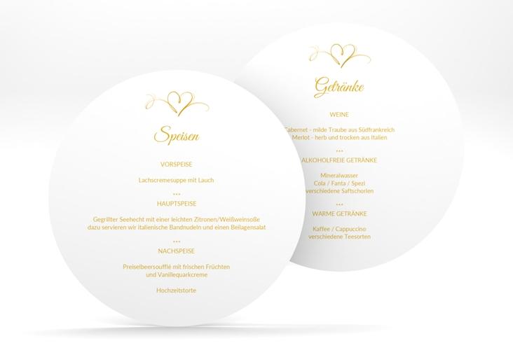 """Menükarte Hochzeit """"Envie"""" rund gold"""