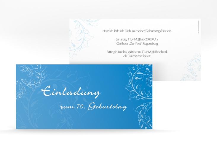 """Einladungskarte """"Peter/Petra"""" DIN lang blau"""