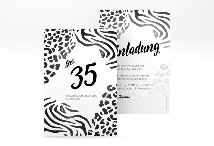 """Einladungskarte """"Wild"""" A6 hoch weiss"""