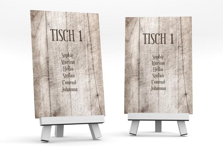 """Tischaufsteller Hochzeit """"Wood"""" Tischaufsteller weiss"""