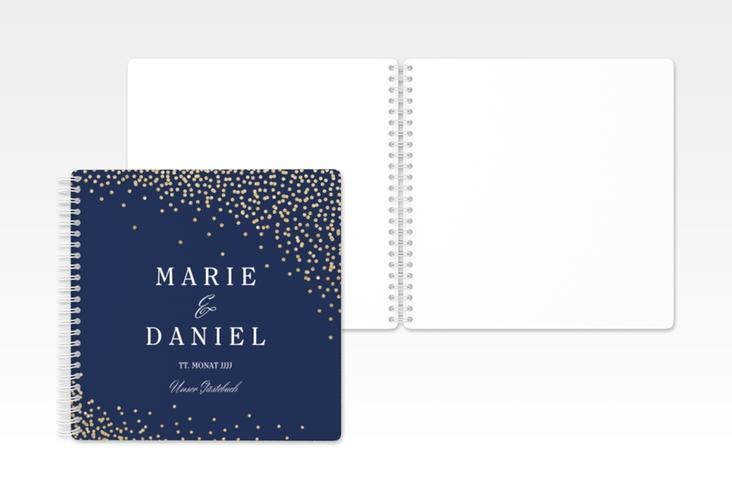 "Gästebuch Hochzeit ""Glitter"" Ringbindung blau"
