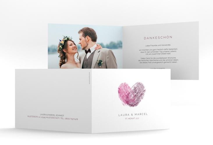 """Dankeskarte Hochzeit """"Fingerprint"""" A6 Klappkarte Quer pink"""