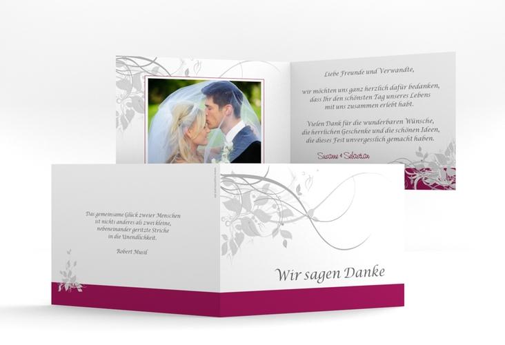 "Danksagungskarte Hochzeit ""Florenz"" A6 Klappkarte Quer pink"