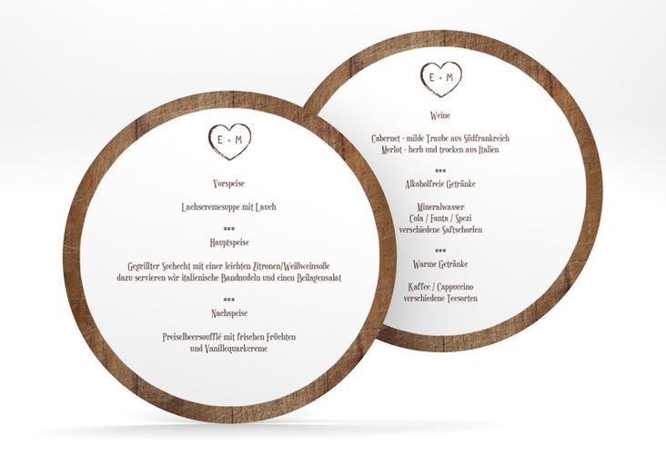 """Menükarte Hochzeit """"Wood"""" rund"""