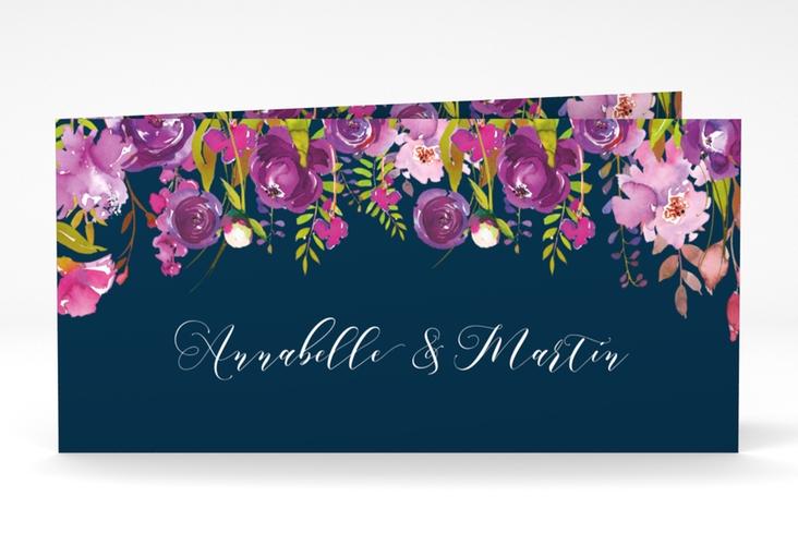 """Dankeskarte Hochzeit """"Violett"""" DIN lang Klappkarte blau"""