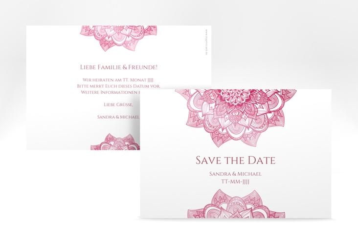 "Save the Date-Karte Hochzeit ""Delight"" A6 quer pink"