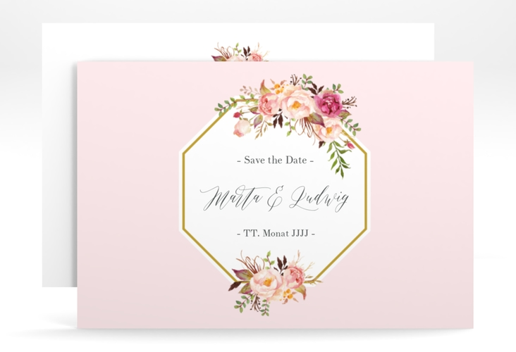 """Save the Date-Karte """"Prachtvoll"""" A6 quer rosa"""