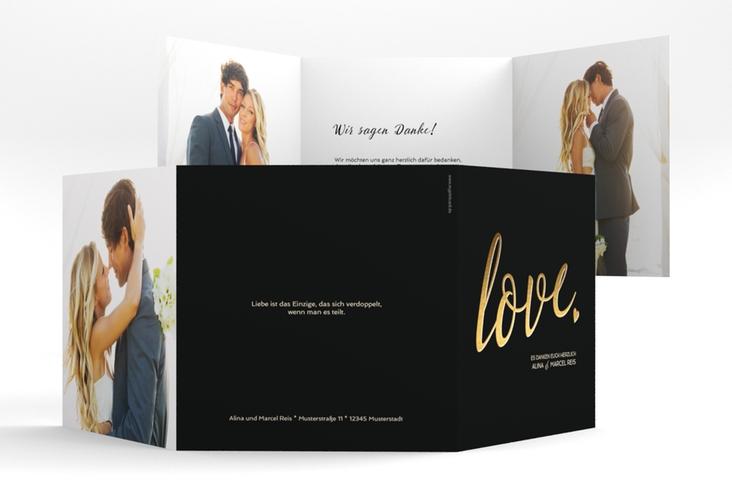 "Dankeskarte Hochzeit ""Glam"" Quadr. Karte doppelt schwarz"