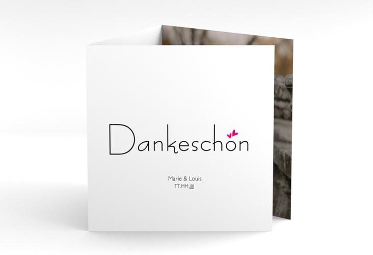 "Dankeskarte Hochzeit ""Twohearts"" Quadr. Karte doppelt pink"