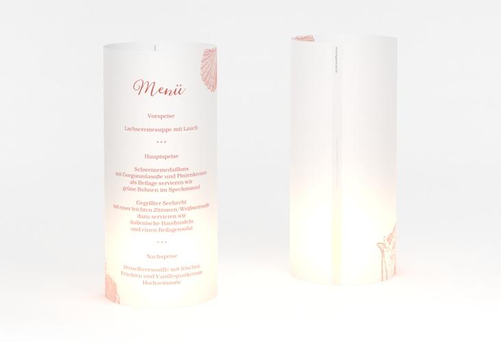 """Windlicht Menü Hochzeit """"Muschelreich"""" Windlicht rot"""