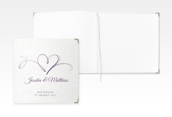 "Gästebuch Selection Hochzeit ""Envie"" Leinen-Hardcover lila"