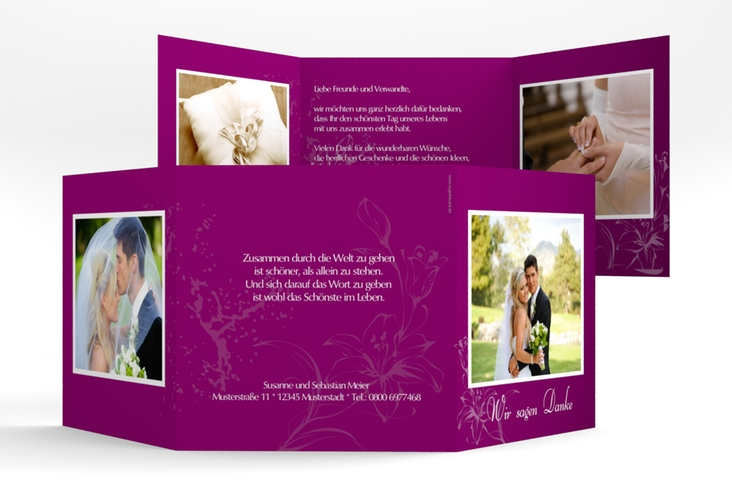 """Dankeskarte Hochzeit """"Lille"""" Quadr. Karte doppelt pink"""
