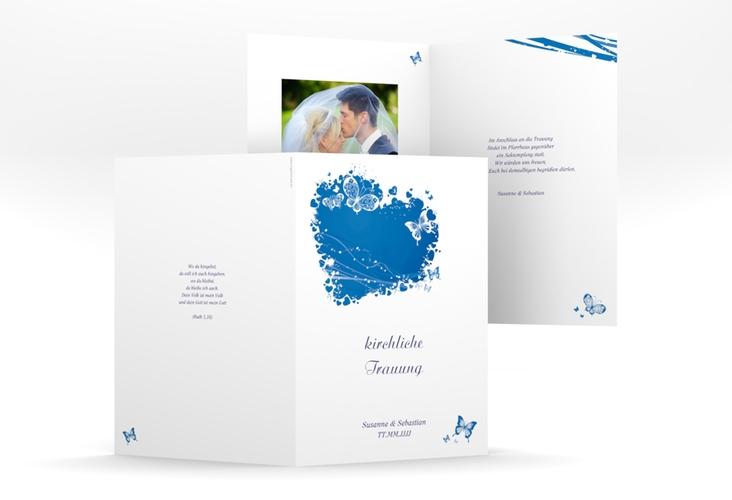 """Kirchenheft Hochzeit """"Mailand"""" DIN A5 geklappt blau"""