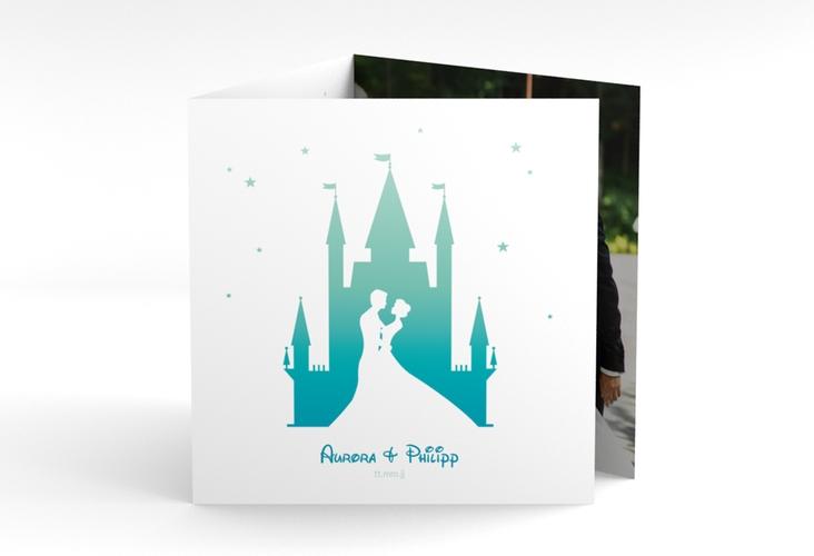 """Dankeskarte Hochzeit """"Castle"""" Quadr. Karte doppelt tuerkis"""