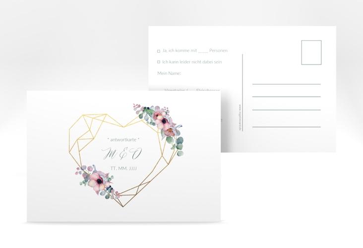 """Antwortkarte Hochzeit """"Herzgold"""" A6 Postkarte"""