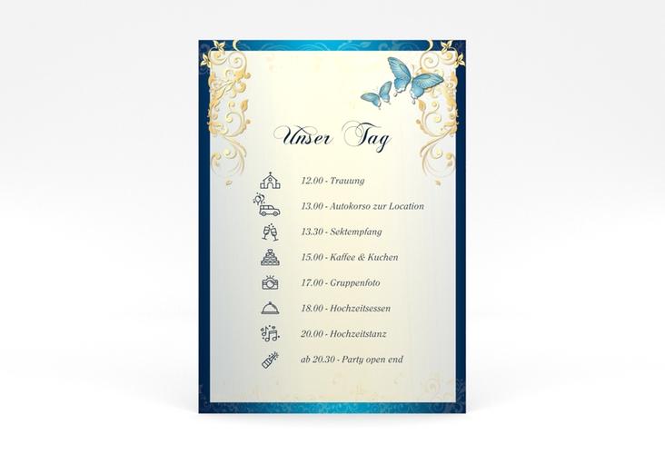 """Tagesablauf Poster Hochzeit """"Toulouse"""" 50 x 70 cm Poster blau"""