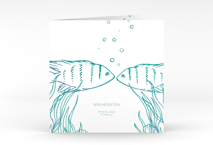 """Hochzeitseinladung """"Ocean"""" Quadratische Klappkarte"""