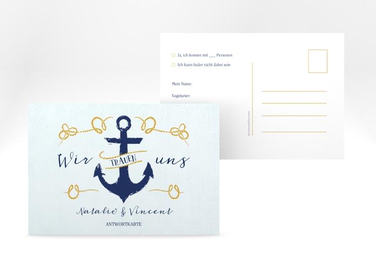 """Antwortkarte Hochzeit """"Anker"""" A6 Postkarte"""