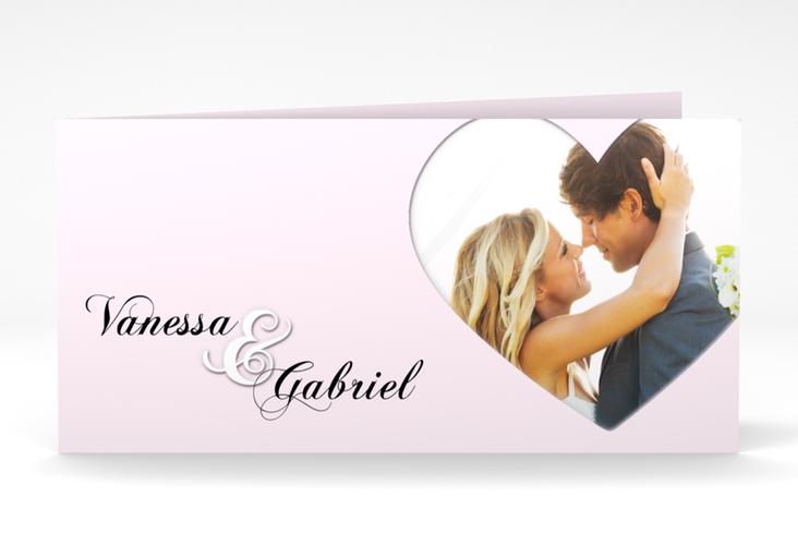 """Danksagung Hochzeit """"Sweetheart"""" DIN lang Klappkarte rosa"""