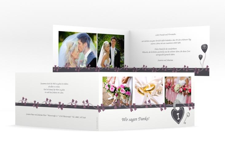 """Danksagungskarte Hochzeit """"Oviedo"""" DIN lang Klappkarte"""