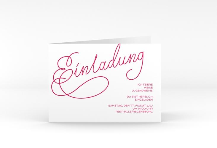 """Einladungskarte Jugendweihe """"Swinging"""" A6 Klappkarte Quer pink"""