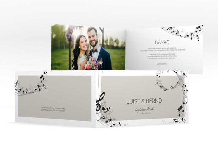 "Dankeskarte Hochzeit ""Melody"" DIN lang Klappkarte grau"