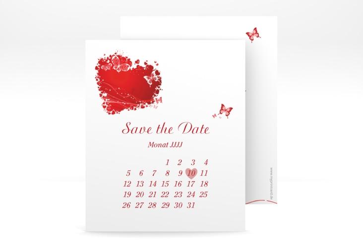 "Save the Date-Kalenderblatt ""Mailand"" Kalenderblatt-Karte rot"