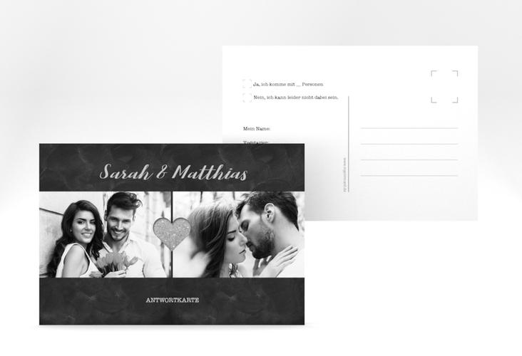 "Antwortkarte Hochzeit ""Sparkly"" A6 Postkarte grau"