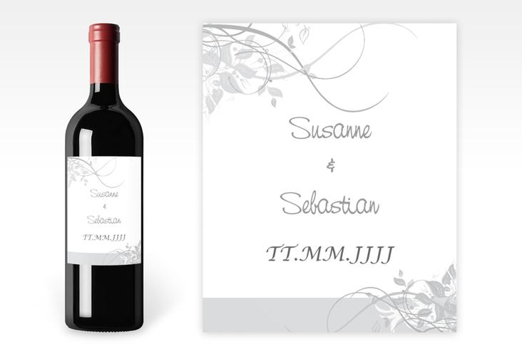 """Weinflaschenetikett Hochzeit """"Florenz"""" Etikett Weinflasche 4er Set grau"""