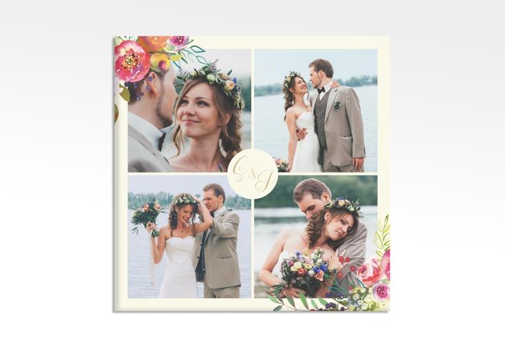 """Hochzeitscollage Leinwand """"Flowerbomb"""" 30 x 30 cm Leinwand beige"""