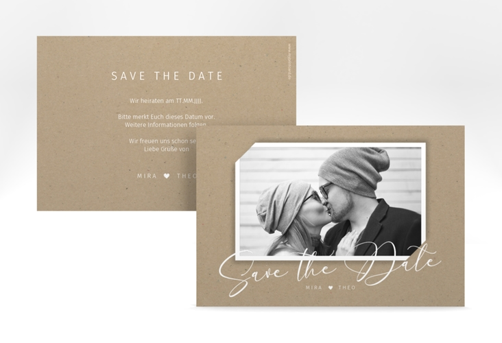 """Save the Date-Karte """"Crafty"""" A6 quer beige"""