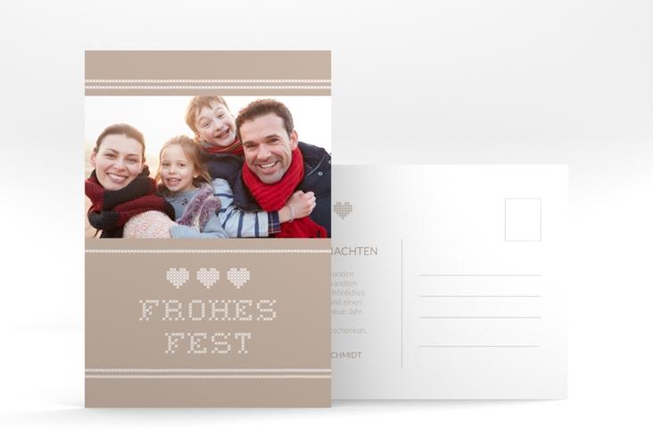 """Weihnachtskarte """"Stitch"""" A6 Postkarte beige"""