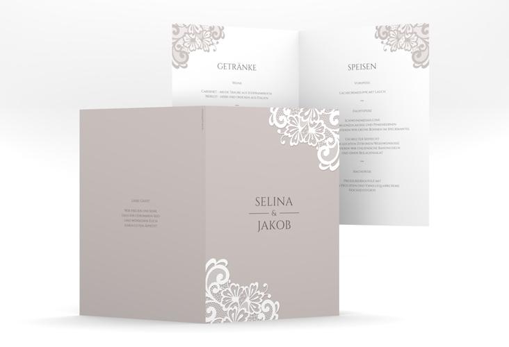 """Menükarte Hochzeit """"Vintage"""" DIN A5 geklappt grau"""