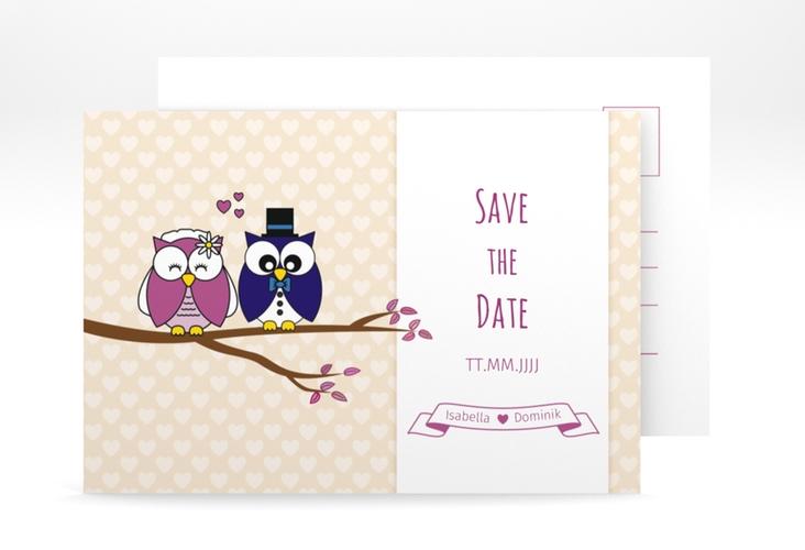 "Save the Date-Postkarte ""Eulenliebe"" A6 Postkarte"