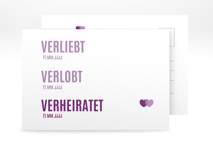 """Antwortkarte Hochzeit """"Couple"""" A6 Postkarte lila"""
