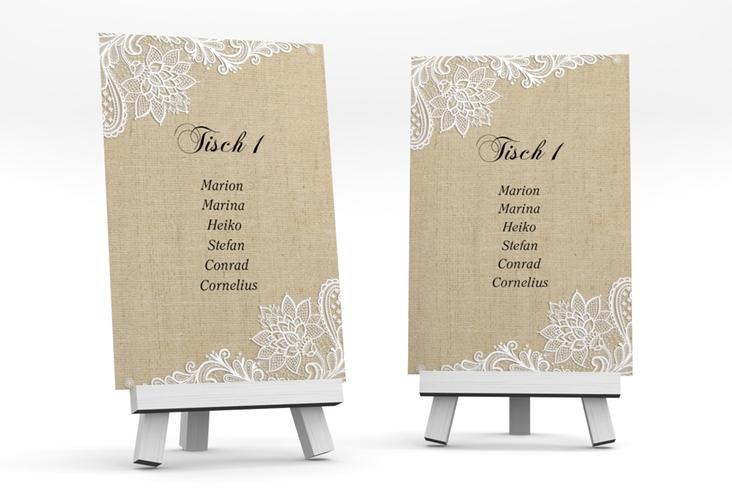 """Tischaufsteller Hochzeit """"Lace"""" Tischaufsteller beige"""