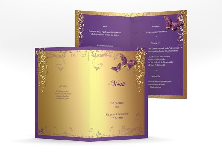 "Menükarte Hochzeit ""Toulouse"" DIN A5 geklappt lila"