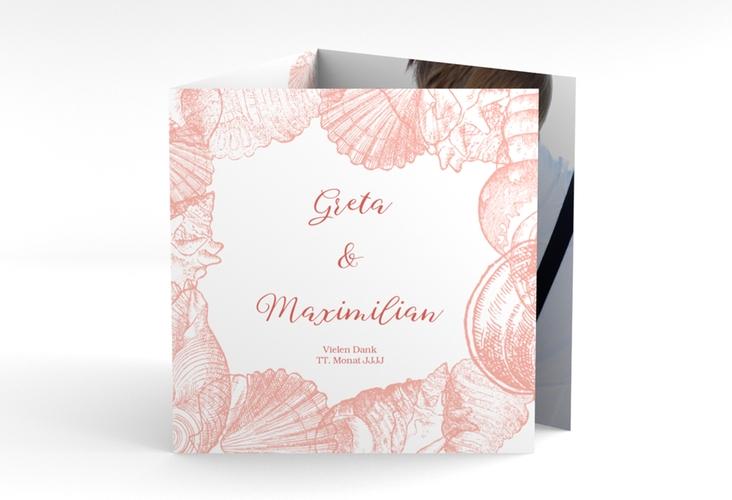 """Dankeskarte Hochzeit """"Muschelreich"""" Quadr. Karte doppelt rot"""