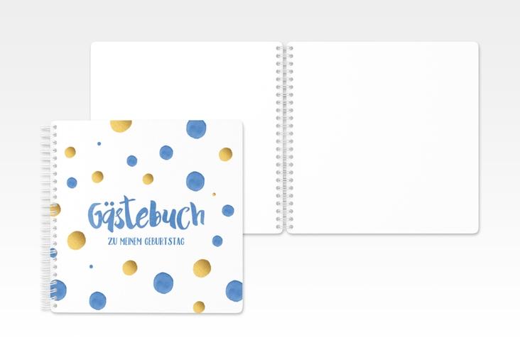 "Gästebuch Geburtstag ""Dots"" Ringbindung blau"