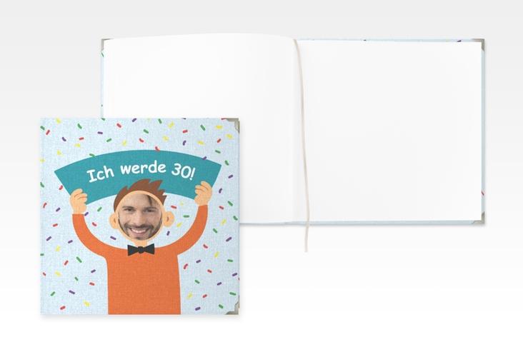 "Gästebuch Selection Geburtstag ""Comic Man"" Leinen-Hardcover tuerkis"