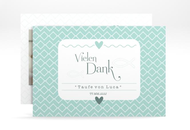 "Dankeskarte Taufe ""Fancy"" A6 Karte"