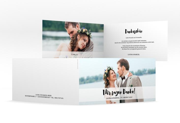 """Dankeskarte Hochzeit """"Mirage"""" DIN lang Klappkarte weiss"""
