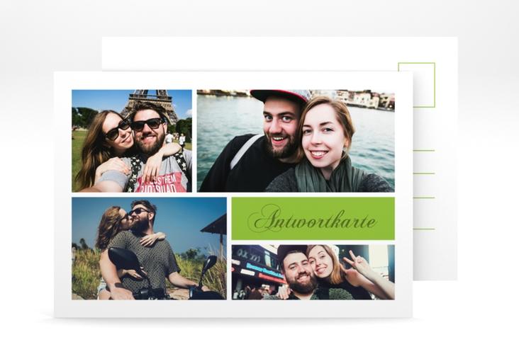 """Antwortkarte Hochzeit """"Collage"""" A6 Postkarte gruen"""